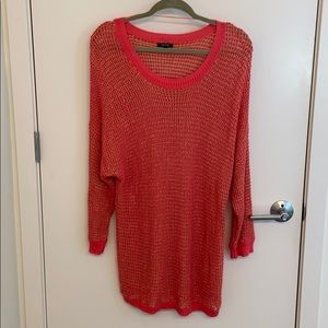 Apt 9, coral/gold long sweater tunic, size XL